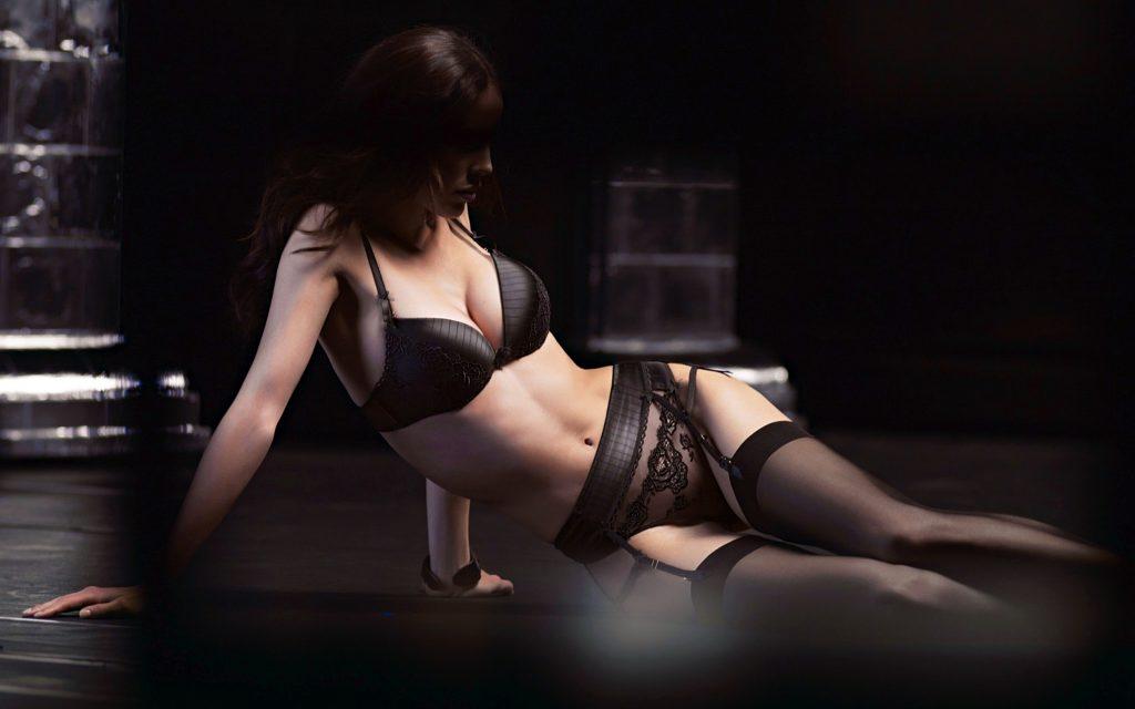 Black lingerie girl so sexy